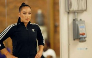 Celebrity personal trainer Nicole Winhoffer inspires the students to be active, despite their varying skill levels.