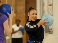 Expert fitness trainer Nicole Winhoffer gets the students moving with an intense workout.