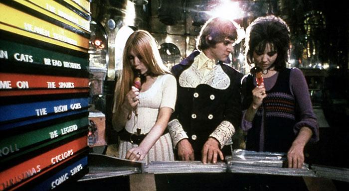 Gillian Hills Malcolm McDowell Barbara Scott in A Clockwork Orange