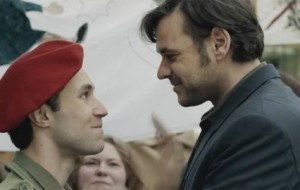 Against his father's orders, Alex joins Tischbier and the protesters outside the military base.