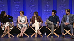 """Jenni Konner, Lena Dunham, Allison Williams, Alex Karpovsk, and Andrew Rannells on BEHIND THE STORY WITH THE PALEY CENTER: """"Girls"""" <br> Photo by: The Paley Center for Media"""