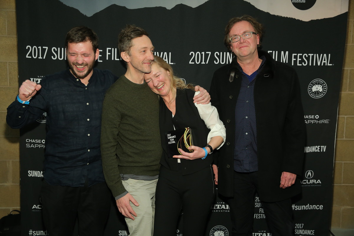 sundance-17_sam_mcmullen_giles-gardner_director_pascale_lamche_and_christoph_jorg-after-winning-the-directing-award-_world_cinema_doc_for_winnie_photoby_jemal_countess1