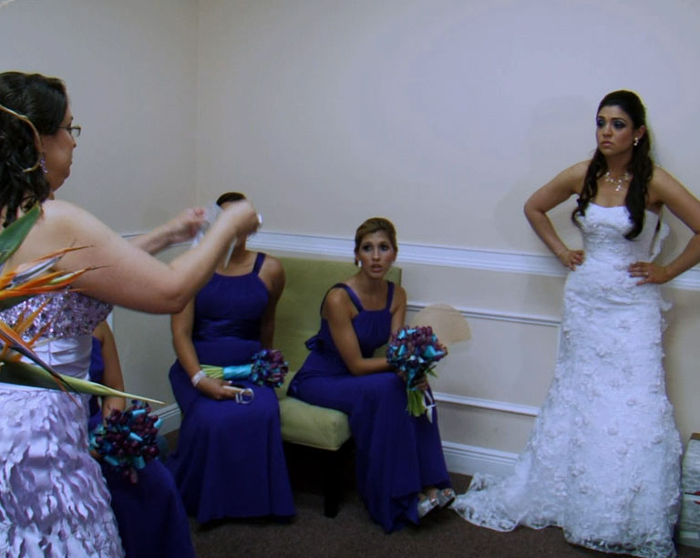 The bride is frustrated.