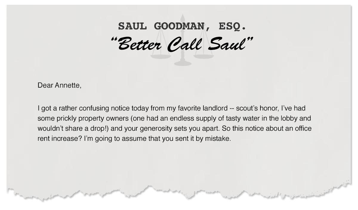 Letters From Saul – World's Greatest Lawyer vs. World's Greatest Landlord