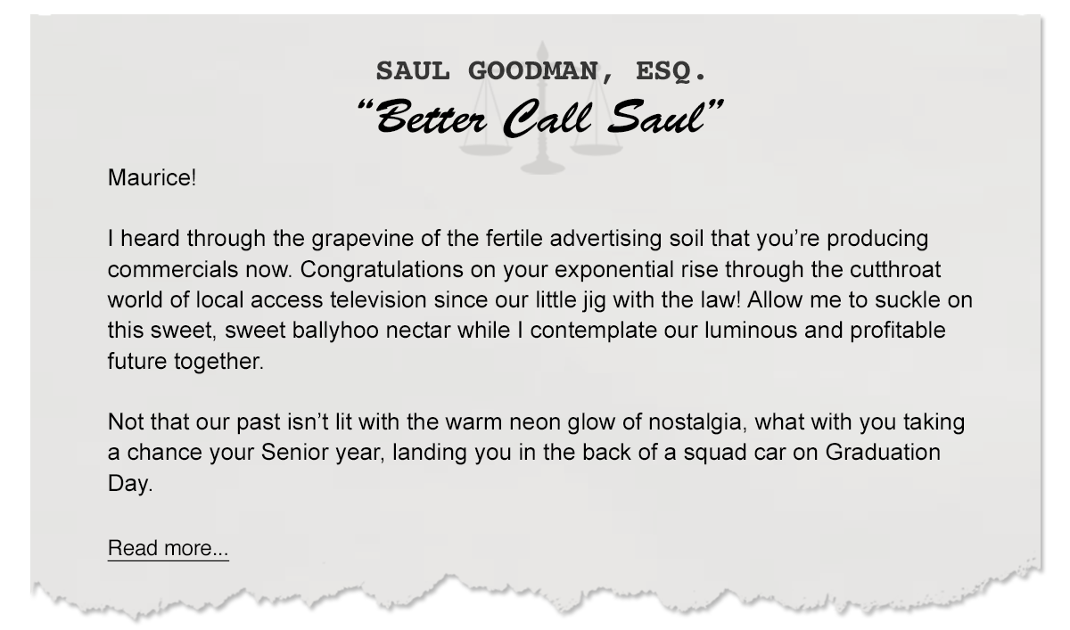 Letters From Saul – How to Make a Great Commercial