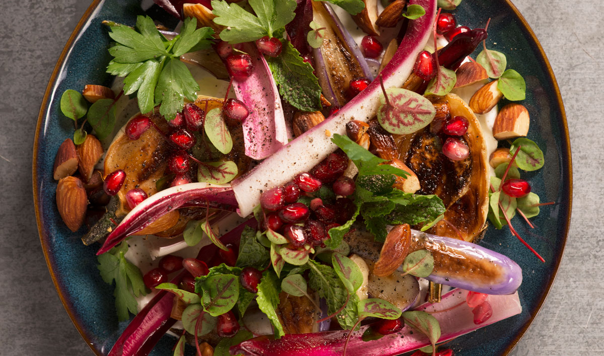 Add a Dramatic Pop of Color to Dinner with Thirio's Roasted Eggplant and Warm Almond Salad