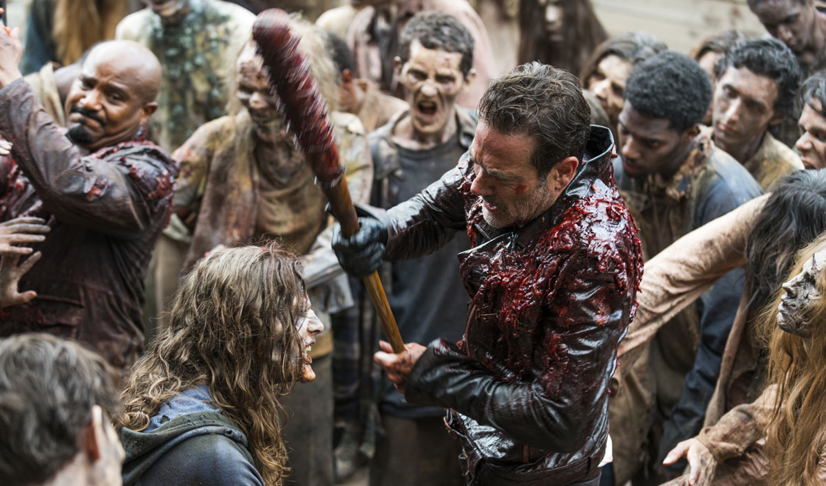 "Go BTS of <em>The Walking Dead</em> Episode 5 as Negan and Gabriel Suit Up in ""Meat Flaps"""