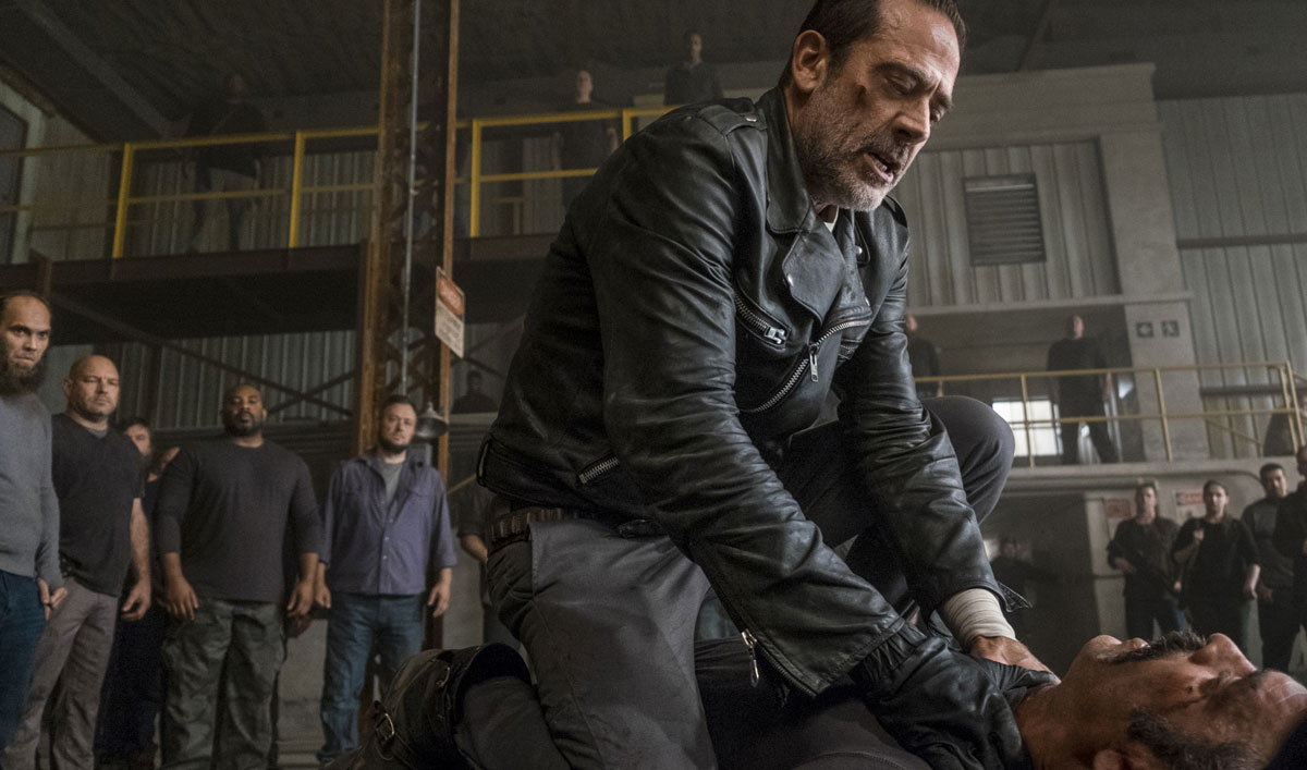 Go BTS of Negan and Simon's Animalistic Brawl at the Sanctuary in <em>The Walking Dead</em> Episode 15