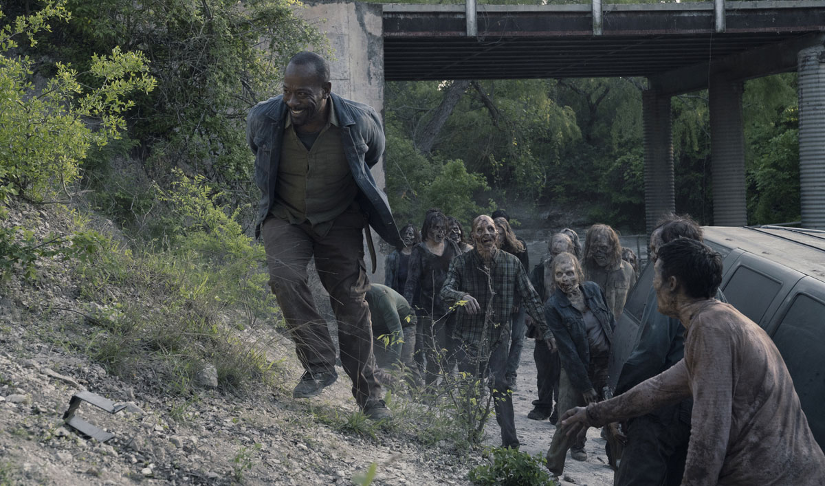 Go on Set as Lennie James Tumbles Into a Ravine of Walkers in <em>Fear the Walking Dead</em> Episode 11