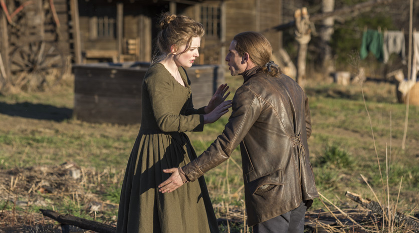 Mary Woodhull (Meegan Warner) y Abe Woodhull (Jamie Bell) en el Episodio 5 Foto de Antony Platt/AMC