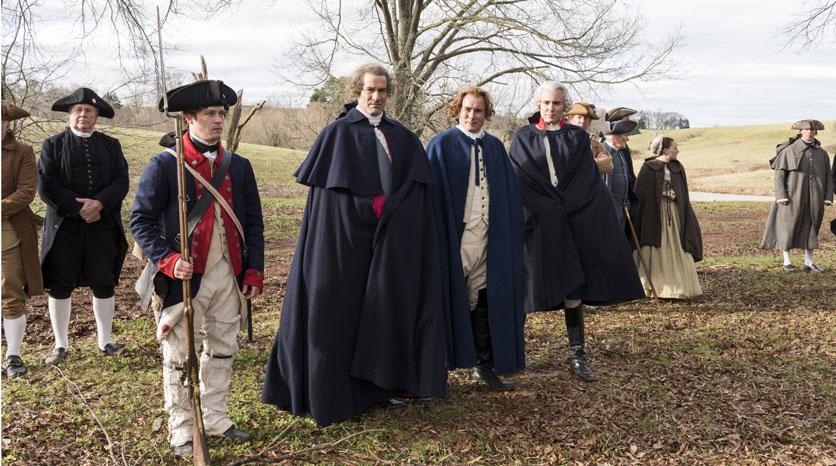 George Washington (Ian Kahn), Alexander Hamilton (Sean Haggerty) and Marquis de Lafayette (Brian Wiles) Episodio 10 Foto de Antony Platt/AMC