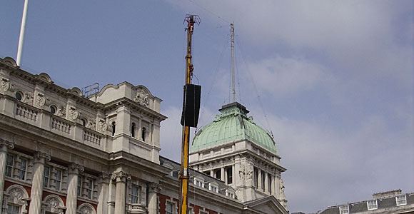 Speaker on a crane