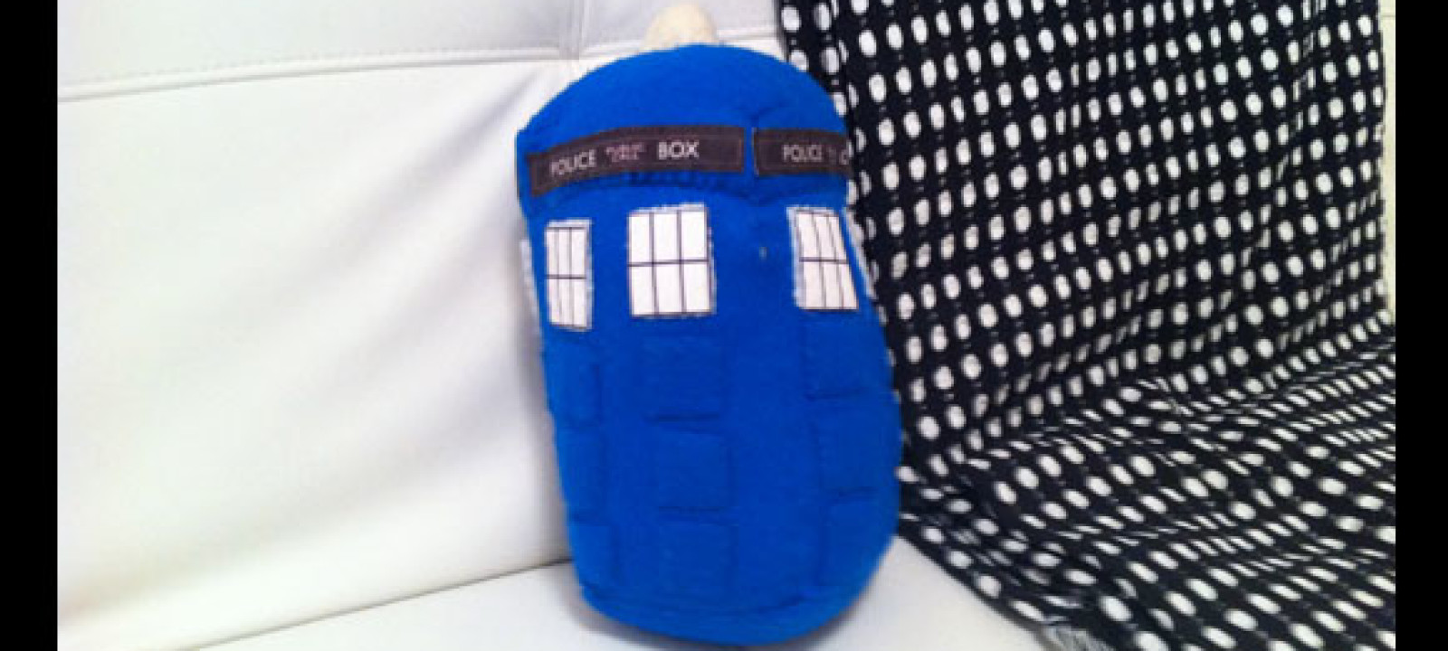 With The Nerdist special premiering tonight (September 24) at 10/9c with guests Matt Smith and Craig Ferguson, Nerdist host Chris Hardwick has generously agreed to open up his personal collection of Doctor Who items. Many of them are gifts from some astonishingly creative fellow Whovians. The TARDIS pillow was handmade by Emily Greenhause (@HeatherMason76).