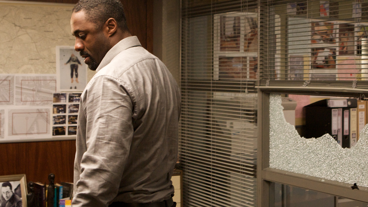 Luther lashes out by breaking a window