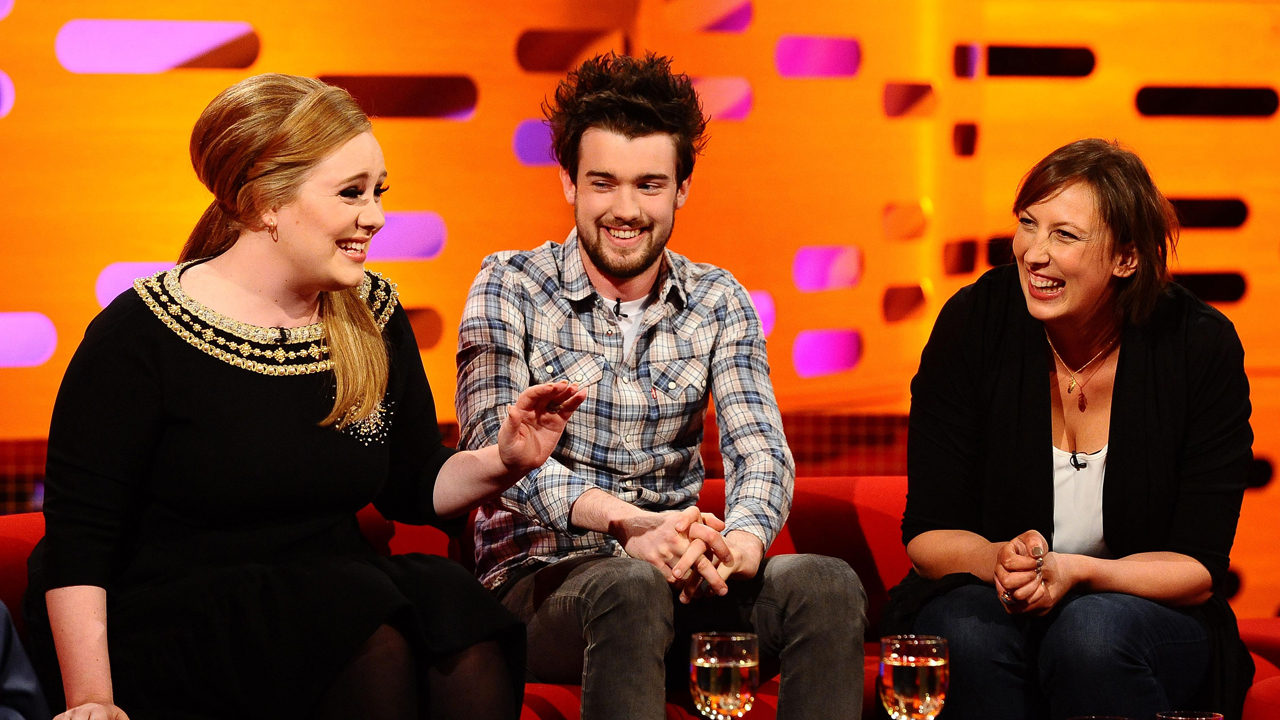 Adele, Jack Whitehall and Miranda Hart share a giggle during episode 10.