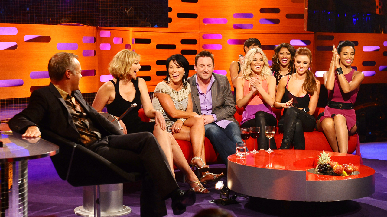 Graham Norton, Kim Cattrall, Jessie Wallace, Lee Mack and The Saturdays during episode 7.