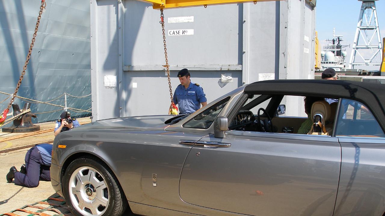 James gets ready to drive the Rolls-Royce Phantom Drophead.