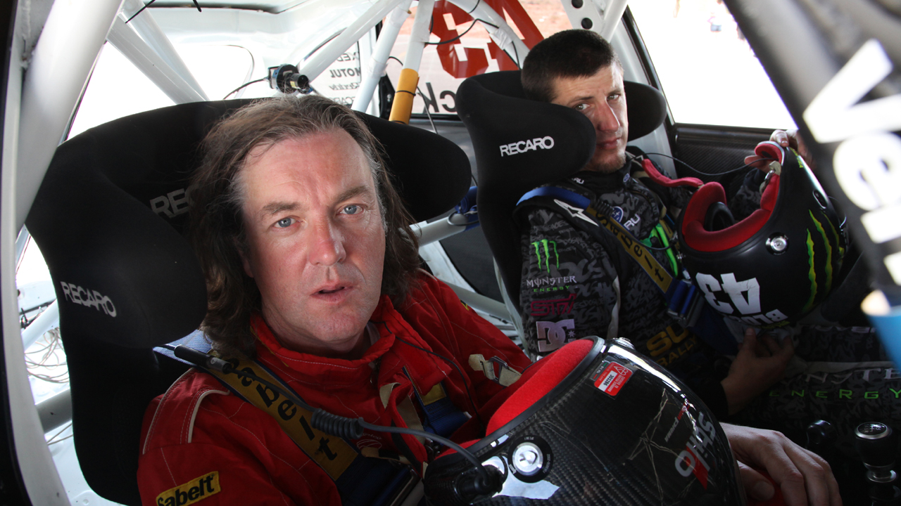 James rides shotgun with rally driver Ken Block