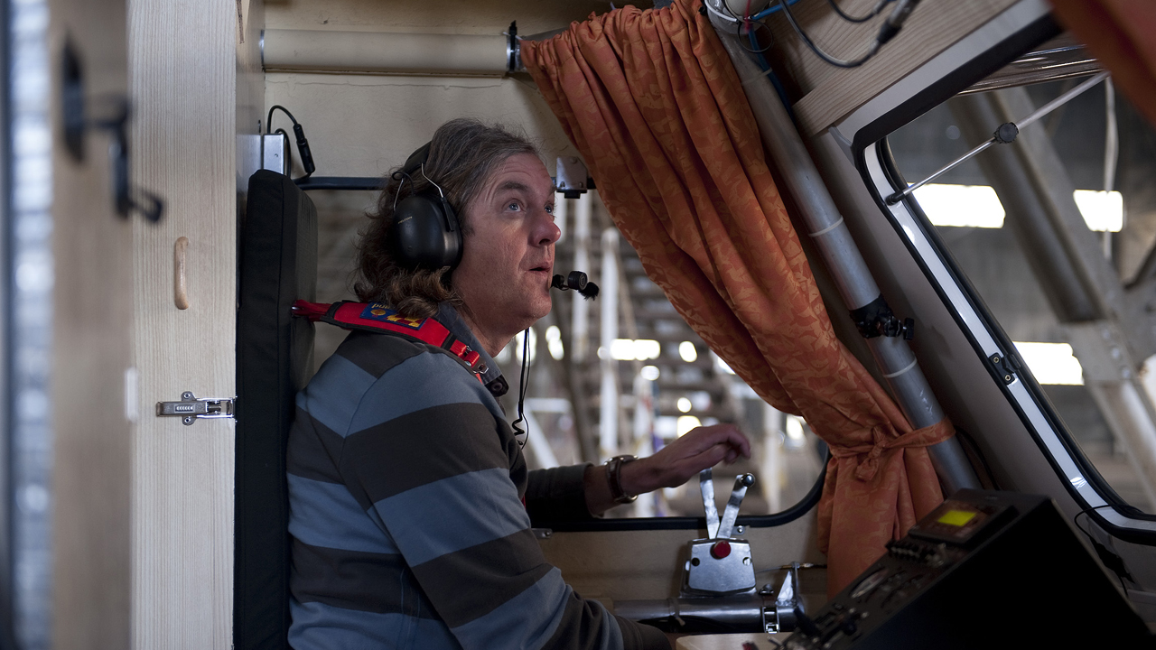James in the cockpit of the caravan