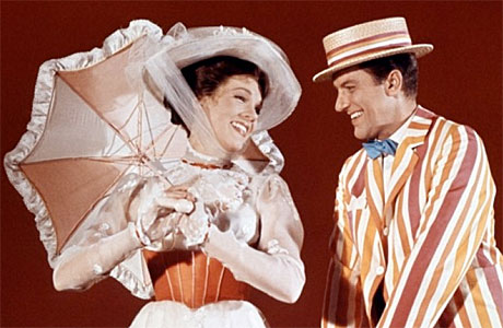 Julie Andrews and the infamous Dick Van Dyke in Mary Poppins