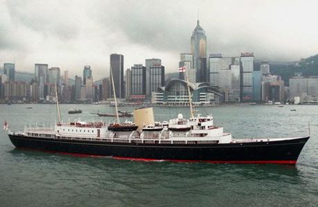 The Royal Yacht Britannia in Hong Kong Harbor in June 1997. (AP Images)