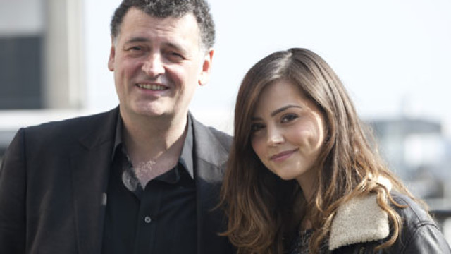 Steven Moffat and Jenna-Louise Coleman from this morning's 'Doctor Who' announcement (Rex Features via AP Images)