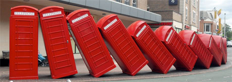 Red phone boxes in Kingston, Surrey.