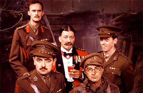 Blackadder Goes Forth (l - r: Tim McInerney, Rowan Atkinson, Stephen Fry, Tony Robinson, Hugh Laurie)