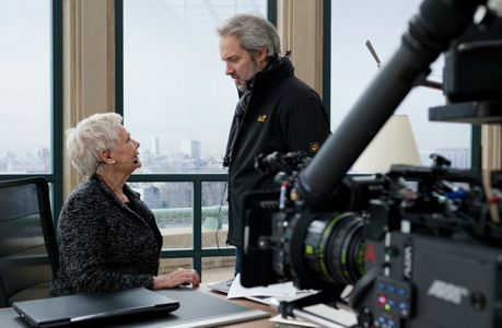 Sam Mendes directs Judi Dench on  the 'Skyfall' set. (Sony Pictures)