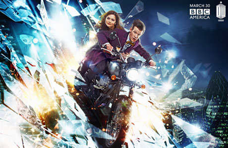 New Doctor Who artwork, the Doctor and Clara/Oswin on a motorbike