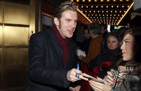 Dan Stevens signing autographs outside his play 'The Heiress' in New York in January. (Donald Traill/AP Images)