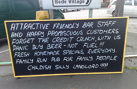 Hand written pub sign