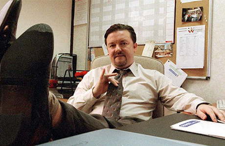 David Brent doing the executive lean. (BBC1)