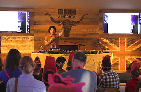 BBCA's Kenyatta Cheese mans the DJ booth in the Roadhouse fort.