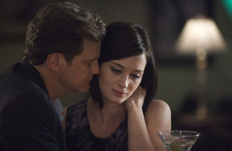 Colin Firth gives Emily Blunt a cuddle in their new film Arthur Newman.
