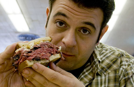 Adam Richman with meat/bread/cheese pile #324