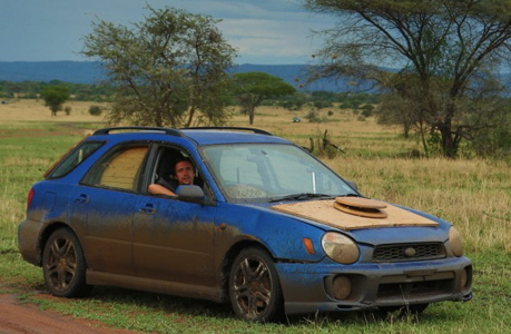 Richard Hammond drives his Subaru Impreza in Africa. (BBC America)