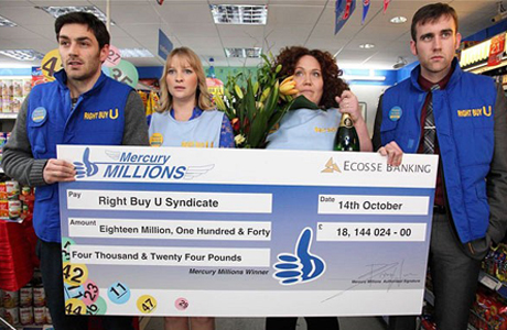 The lottery winners look alarmed. (BBC Season One)