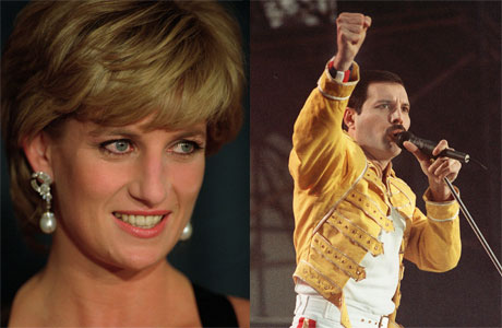 Princess Diana and Freddie Mercury (all pics courtesy of AP Images)