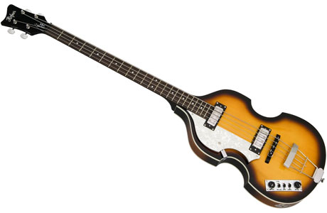 A left-handed Hofner violin bass guitar, of the sort played by Sir Paul McCartney