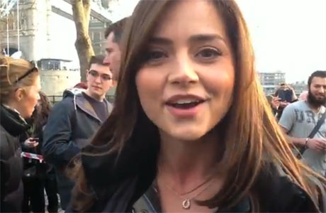 Jenna-Louise Coleman on set at the Tower of London
