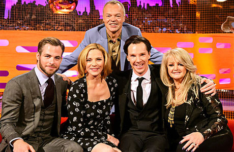 Chris Pine, Kim Cattrall, Benedict Cumberbatch and Bonnie Tyler with Graham Norton.