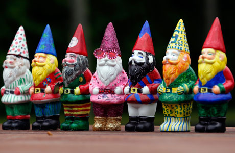 Celebrity Gnomes at the Chelsea Flower Show. You can tell which one Sir Elton made, can't you? (AP Images)