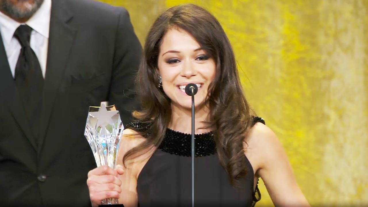 Tatiana Maslany accepting her Critics Choice award on June 10.