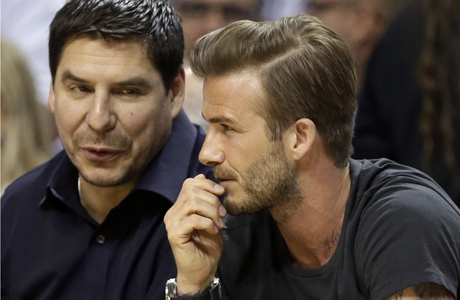 David Beckham and business Partner Marcelo (AP)