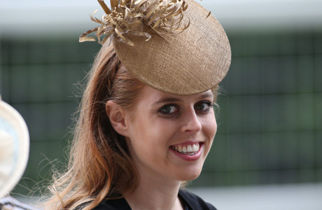 Princess Beatrice did not disappoint with her sphere, forehead topper. (AP)