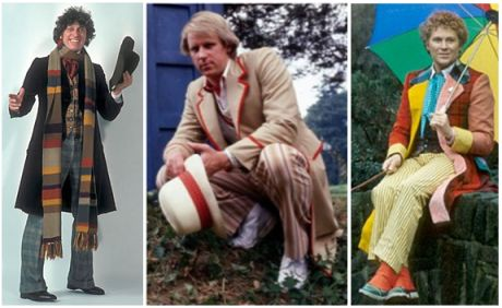 The fourth, fifth, and sixth Doctors. From left to right: