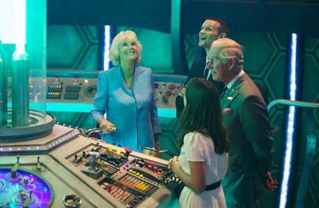 Camilla, Duchess of Cornwall and Prince Charles in the TARDIS with Matt Smith and Jenna Coleman. (Photo: BBC)