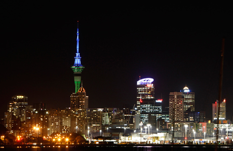 Auckland's Sky Tower at night. (Photo: AP/Alastair Grant)