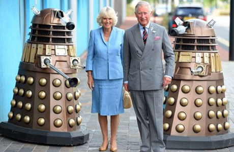 Camilla, Duchess of Cornwall and Prince Charles flanked by Daleks on the Cardiff set of 'Doctor Who' (Photo: BBC)